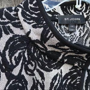 St. John Jackets & Coats - ST. JOHN Textured Floral Knit Cape Jacket Black 10